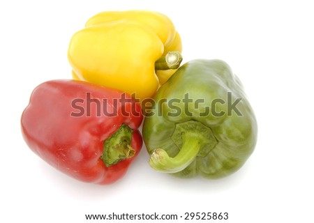 Mixed peppers (capsicums) isolated on a white background