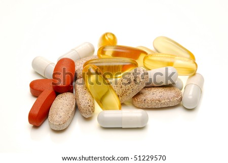mixed pile of tablets - stock photo
