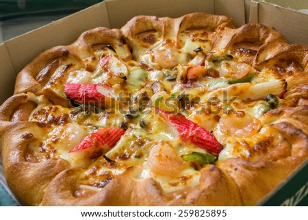 Mixed Pizza Top View - stock photo
