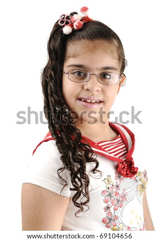 Mixed race adorable cute little school girl portrait, arabic - african - american - stock photo