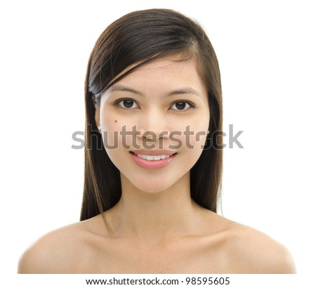Mixed race Asian woman on white background - stock photo