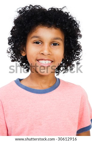 Mixed race boy smiling isolated over white - stock photo