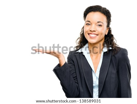 mixed race businesswoman showing empty copy space isolated on white background - stock photo