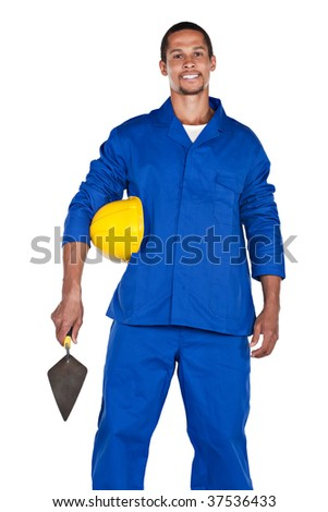 mixed race construction worker with yellow hard hat and trowel, isolated on white - stock photo
