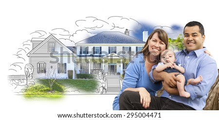 Mixed Race Couple with Baby Over House Drawing and Photo Combination on White. - stock photo