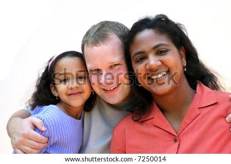 Mixed race family set on a white background - stock photo
