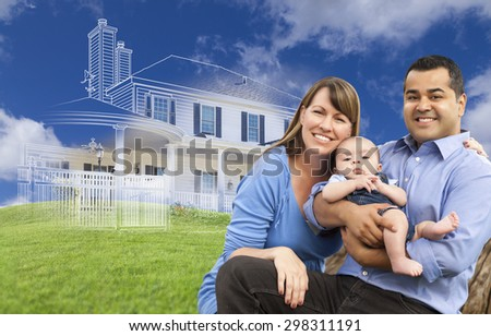 Mixed Race Family with Ghosted House Drawing, Partial Photo and Rolling Green Hills Behind. - stock photo