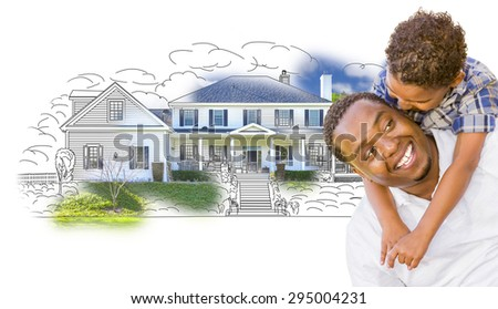 Mixed Race Father and Son Over House Drawing and Photo Combination on White. - stock photo