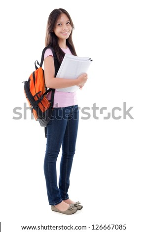 Mixed race pan Asian teen student with books standing on white - stock photo