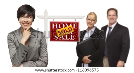 Mixed Race People with Sold Home For Sale Real Estate Sign Isolated on a White Background. - stock photo