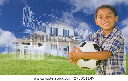 Mixed Race Young Boy Holding Soccer Ball with Ghosted House Drawing, Partial Photo and Rolling Green Hills Behind. - stock photo