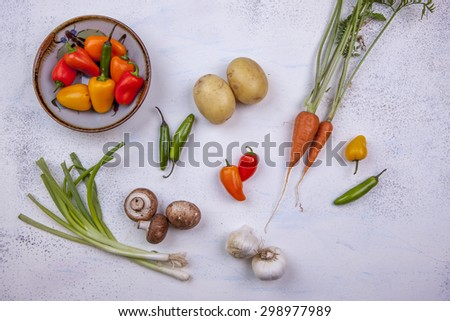 Mixed raw veggies. - stock photo