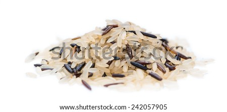 Mixed Rice (with Wild Rice) isolated on pure white background - stock photo