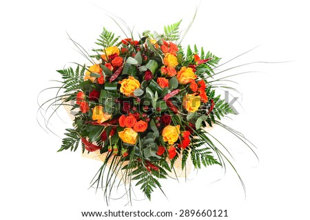 Mixed roses, floristic arrangement of orange, yellow and red roses, floral compositions, colorful bouquet roses isolated over white background. - stock photo