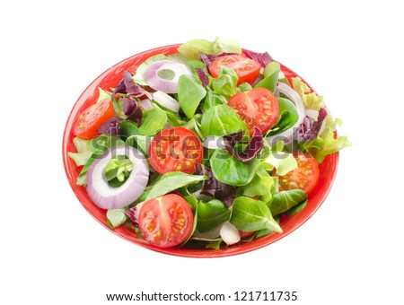 mixed salad in a bowl - withe background