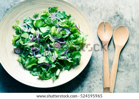 Mixed salad leaves/toned photo