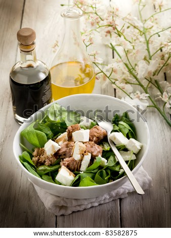 mixed salad with fresh spinach tuna and feta cheese - stock photo
