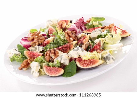 mixed salad with lettuce,fig,cheese and walnut - stock photo