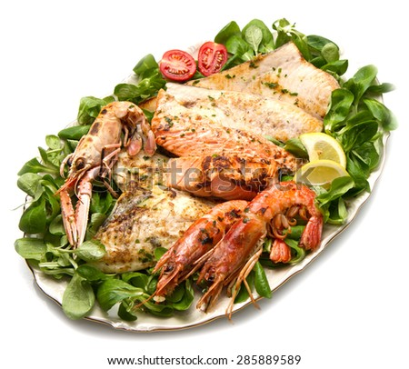 mixed seafood grill  - stock photo