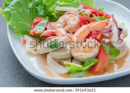 Mixed seafood salad ,thai food - stock photo