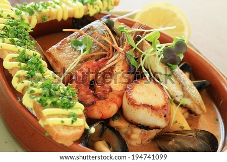 mixed seafood starter - stock photo
