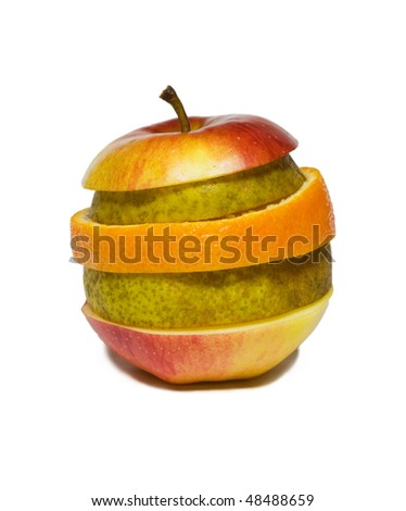 Mixed slices fruits isolated on white background.