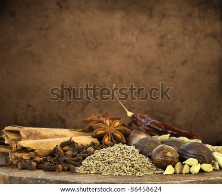 Mixed Spices Background - stock photo