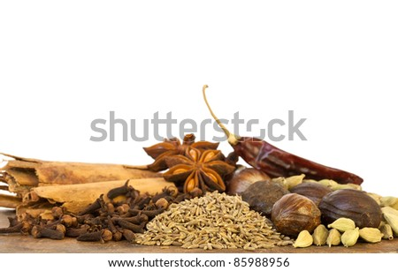 Mixed Spices on White Background - stock photo