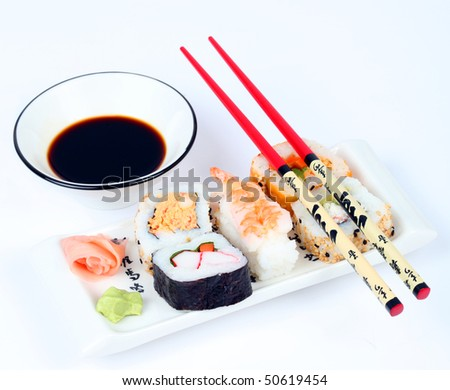 Mixed sushi on a plate with shallow depth of focus