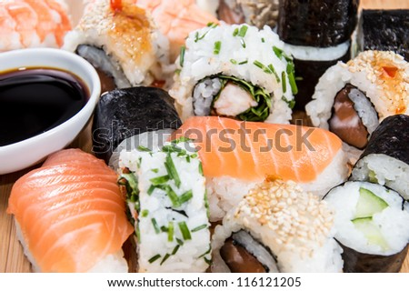 Mixed Sushi rolls (macro shot)