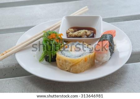 Mixed sushi with wasabi sauce , selective focus point. - stock photo