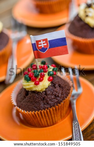 mixed tartlets with the slovakian flag