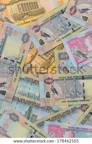Mixed UAE Dirhams currency notes- above angle - stock photo