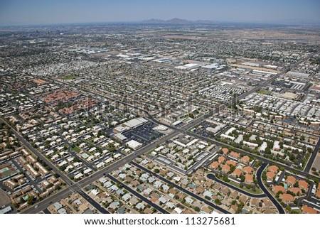 Mixed use sprawl of southwest Mesa, Arizona from above - stock photo
