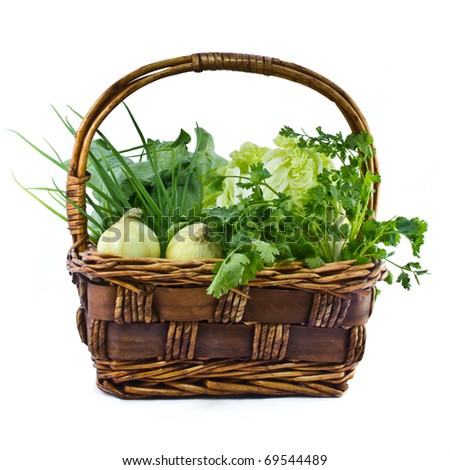 Mixed vegetable in basket - stock photo