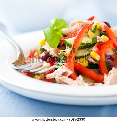 Mixed vegetable salad with tuna - stock photo