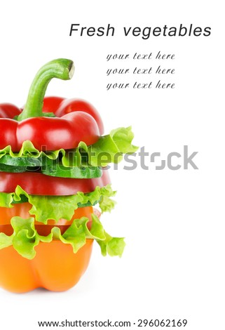 Mixed vegetable sliced on white background