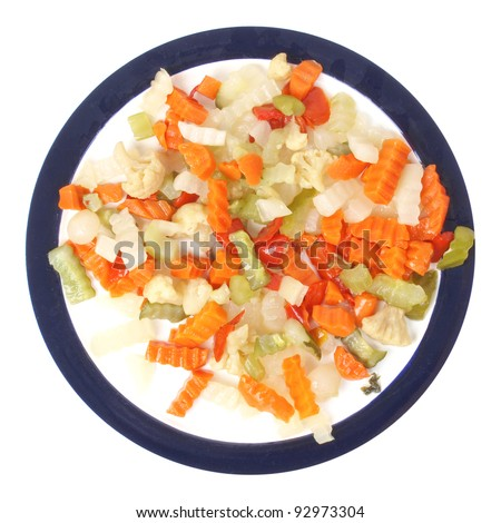 Mixed vegetables as used in Russian Salad including carrots turnips courgettes zucchini cauliflower peppers celery onions olives