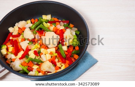 Mixed vegetables in a frying pan