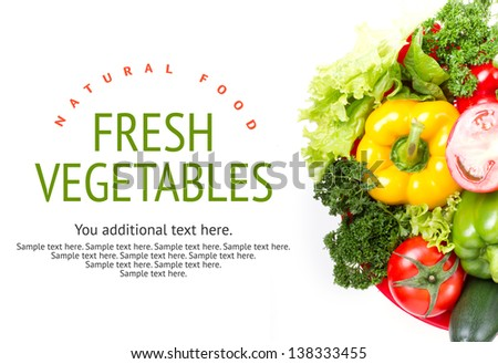 Mixed vegetables on white table. Organic food from farm.