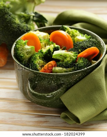 mixed vegetables with carrots and broccoli tasty garnish