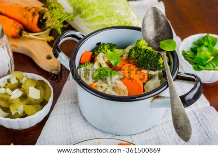 Mixed vegetables with carrots, cabbage and broccoli tasty