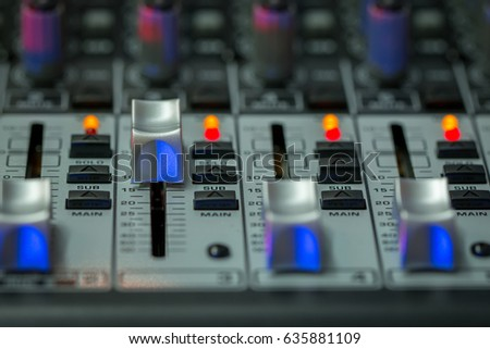 Mixer,Volume,Audio mixer and microphone,bright images.