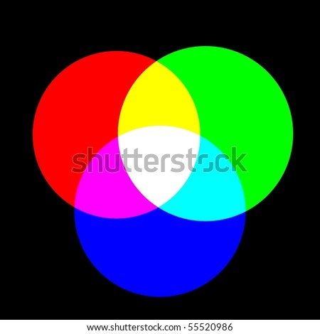 Mixing colors ( RGB). Black background, 3d render - stock photo