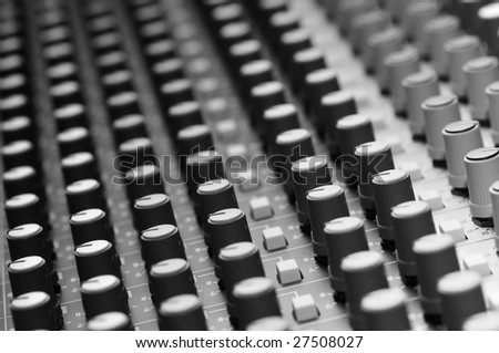 Mixing console detail, shallow dof