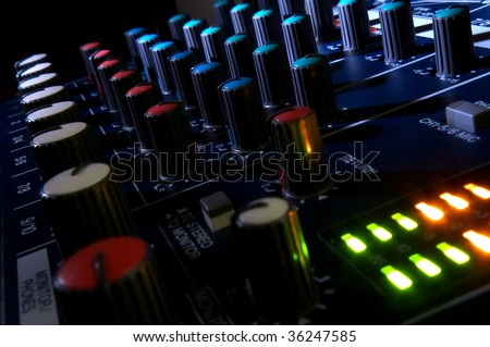Mixing console in dark. Element of design. - stock photo