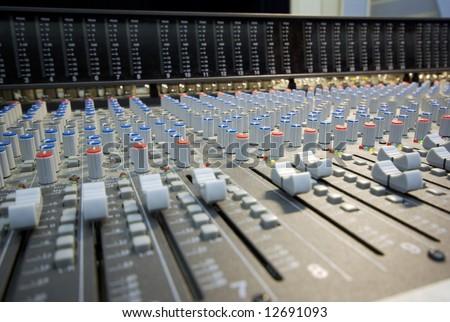 mixing desk perspective - stock photo