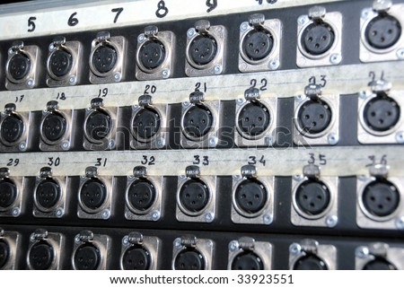 Mixing Sockets. Connections of a sound equipment proffesional xrl audio patch panel. - stock photo