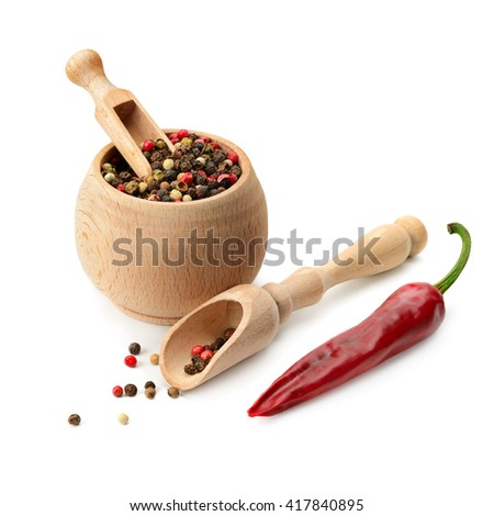 mixture dry pepper and chili isolated on white background - stock photo