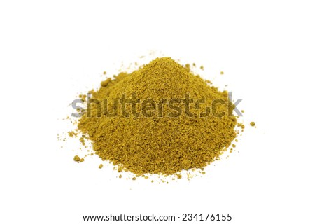 mixture of aromatic spices on a white background